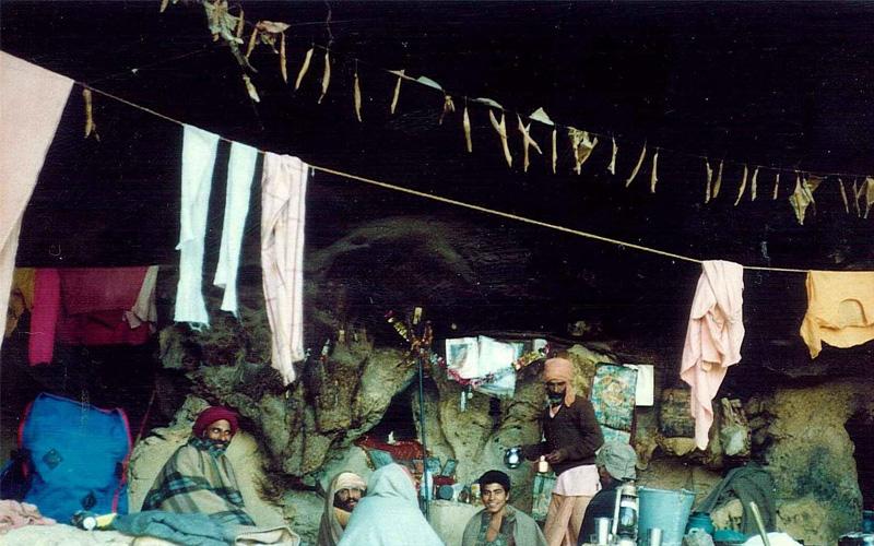 Bhakti yogis living in Geel Meel Gupa, a Himalayan cave near Rishikesh