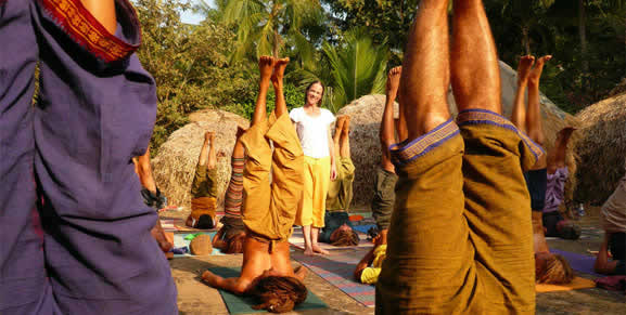 Anne Parsonage teaching Yoga from the Heart Canada in India